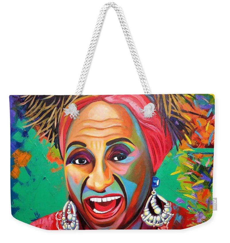 Celia Cruz Weekender Tote Bag featuring the painting Celia by Jose Manuel Abraham