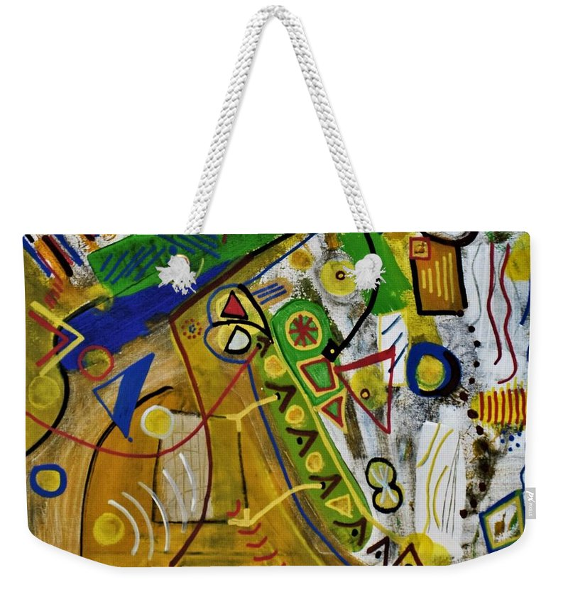 Colorado Weekender Tote Bag featuring the painting Chaos by Pam Roth O'Mara