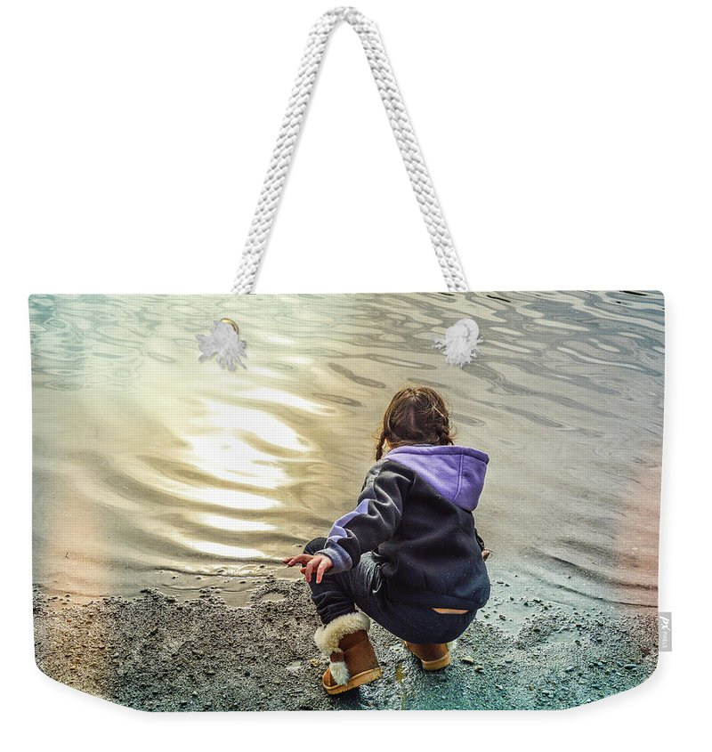 Child Weekender Tote Bag featuring the photograph Chasing River Rainbows by Cindy Nunn