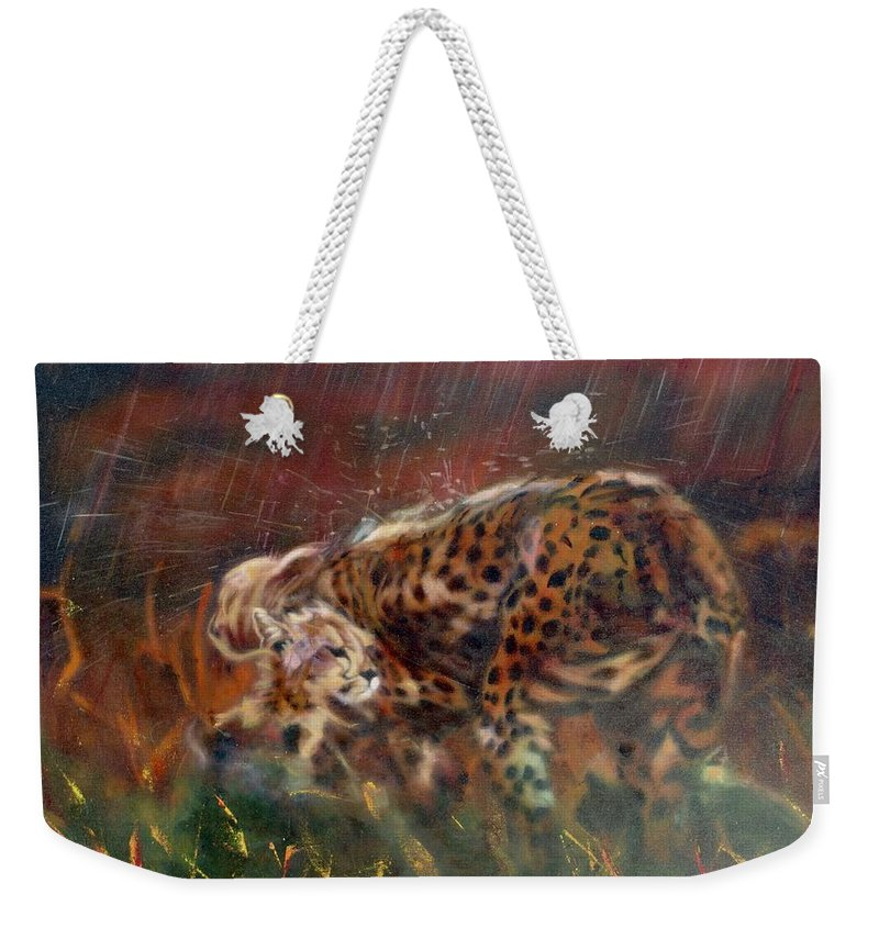 Oil Painting On Canvas Weekender Tote Bag featuring the painting Cheetah Family After The Rains by Sean Connolly