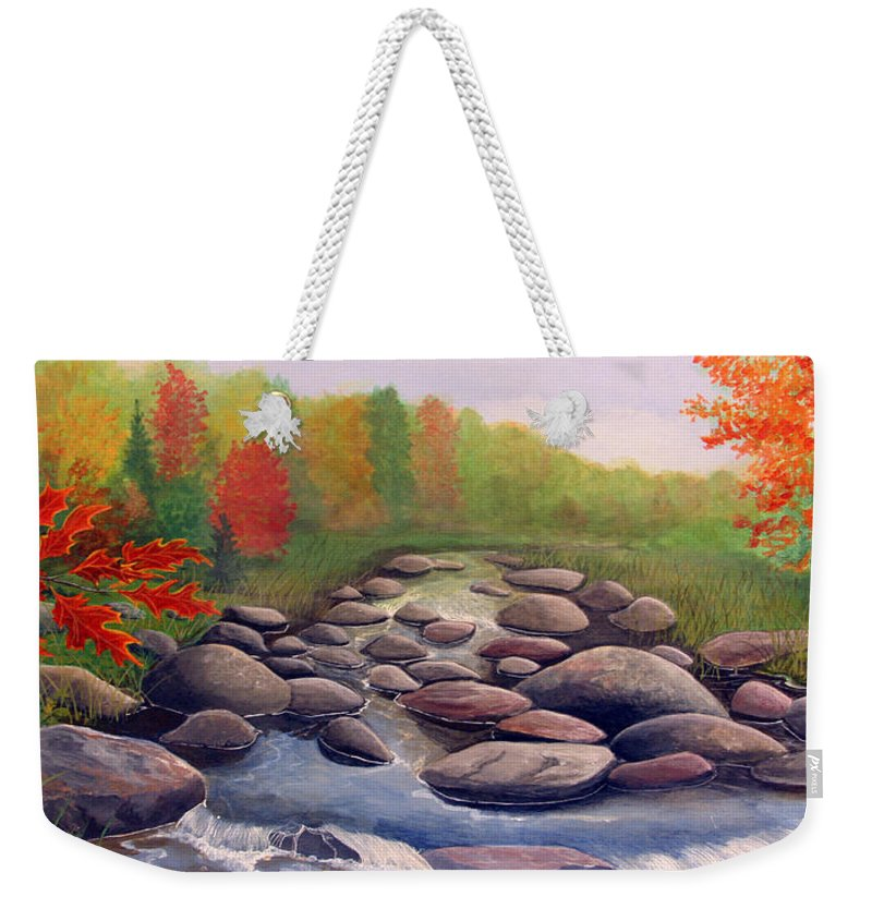 Rick Huotari Weekender Tote Bag featuring the painting Cherokee Park by Rick Huotari
