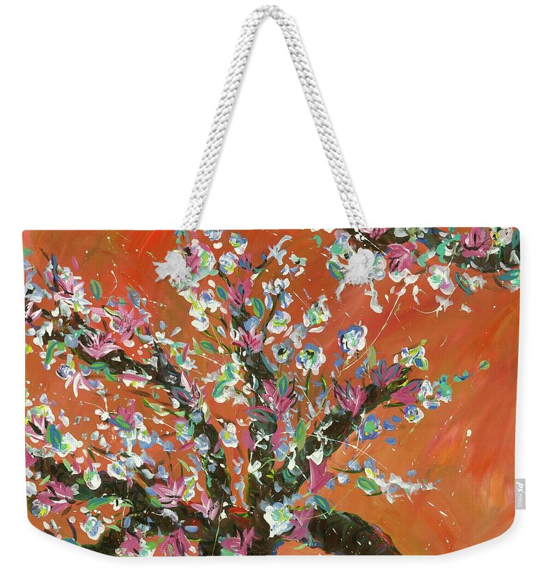 Weekender Tote Bag featuring the painting Cherry Tree by Britt Miller