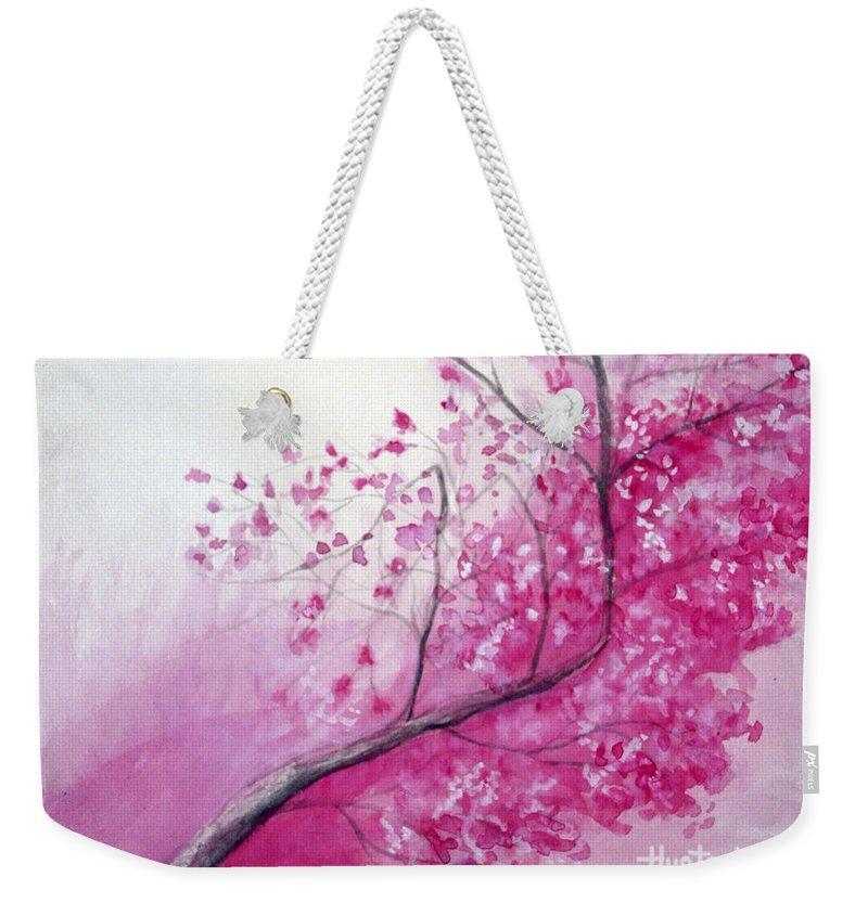 Rick Huotari Weekender Tote Bag featuring the painting Cherry Tree In Bloom by Rick Huotari