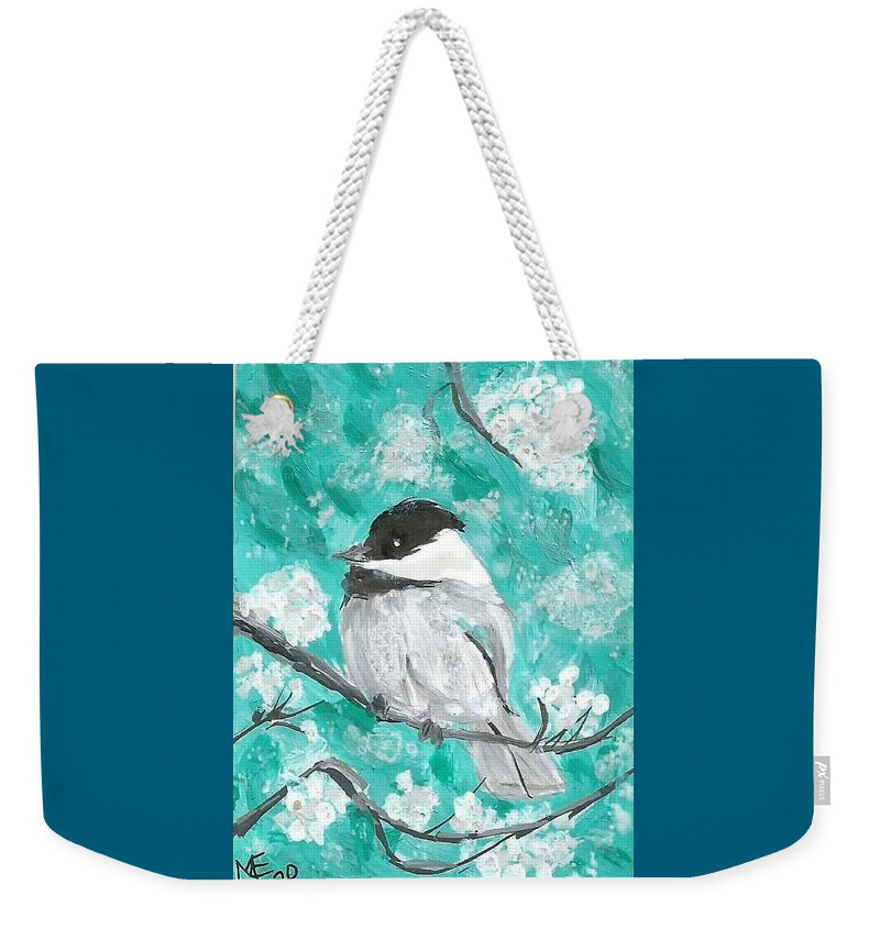 Chickadee Painting Weekender Tote Bag featuring the painting Chickadee by Monica Resinger