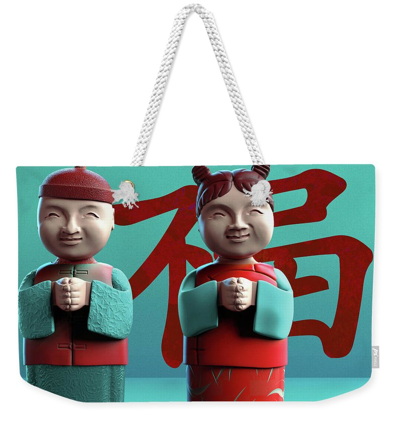 China Weekender Tote Bag featuring the digital art Chinese Good Luck Statues by Heike Remy