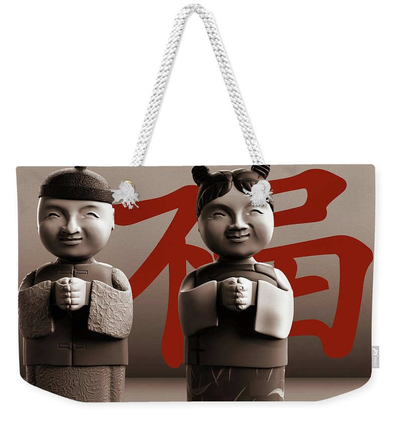 Chinese Weekender Tote Bag featuring the digital art Chinese Statues_Sepia by Heike Remy