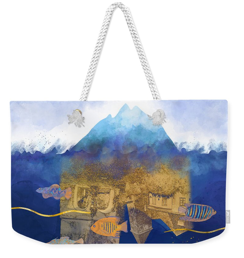 Climate Change Weekender Tote Bag featuring the digital art City Under Water #2 - Climate Change Surrealism by Andreea Dumez