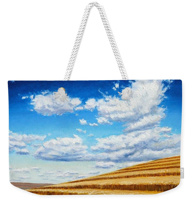 Palouse Weekender Tote Bag featuring the painting Clouds on the Palouse near Moscow Idaho by Leonard Heid