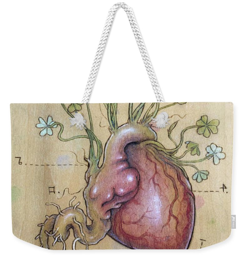 Clover Weekender Tote Bag featuring the pyrography Clover Heart by Fay Helfer
