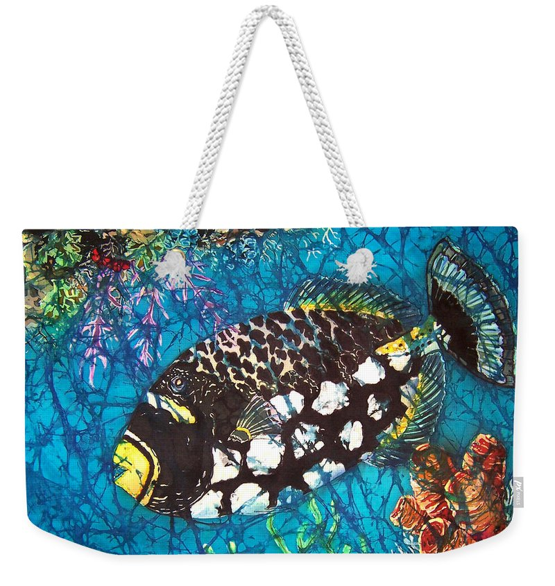 Clown Weekender Tote Bag featuring the painting Clown Triggerfish by Sue Duda