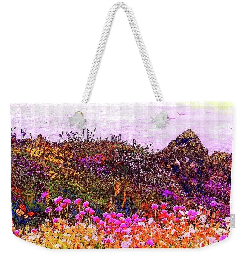 Wildflower Weekender Tote Bag featuring the painting Coastal Flowers by Jane Small