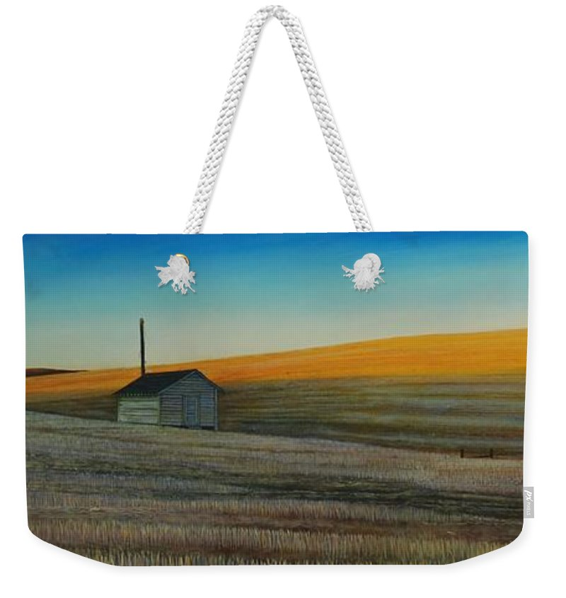 Wheat Weekender Tote Bag featuring the painting Cold Field at Dusk by Leonard Heid