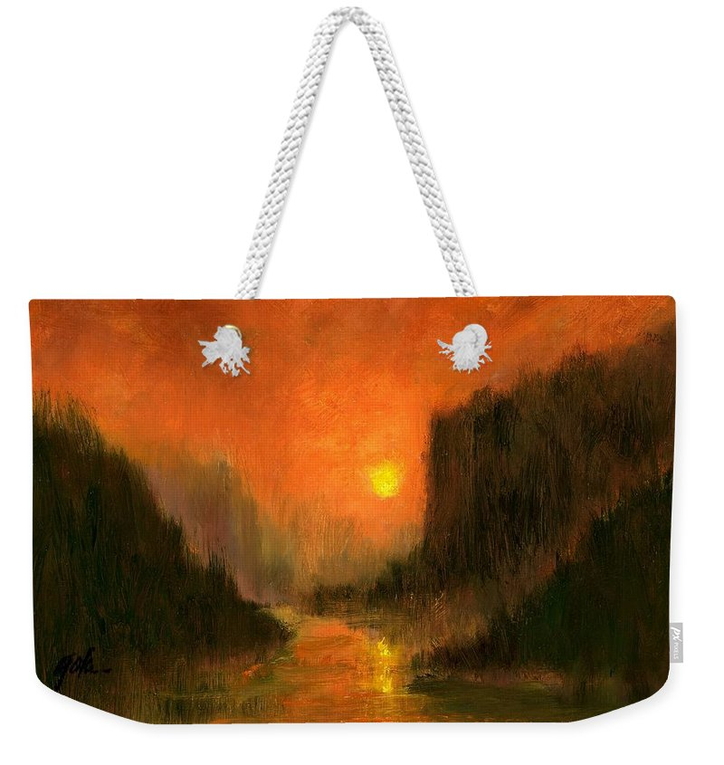 Miniatures Oil Paintings Weekender Tote Bag featuring the painting Columbia Gorge Nocturn by Jim Gola