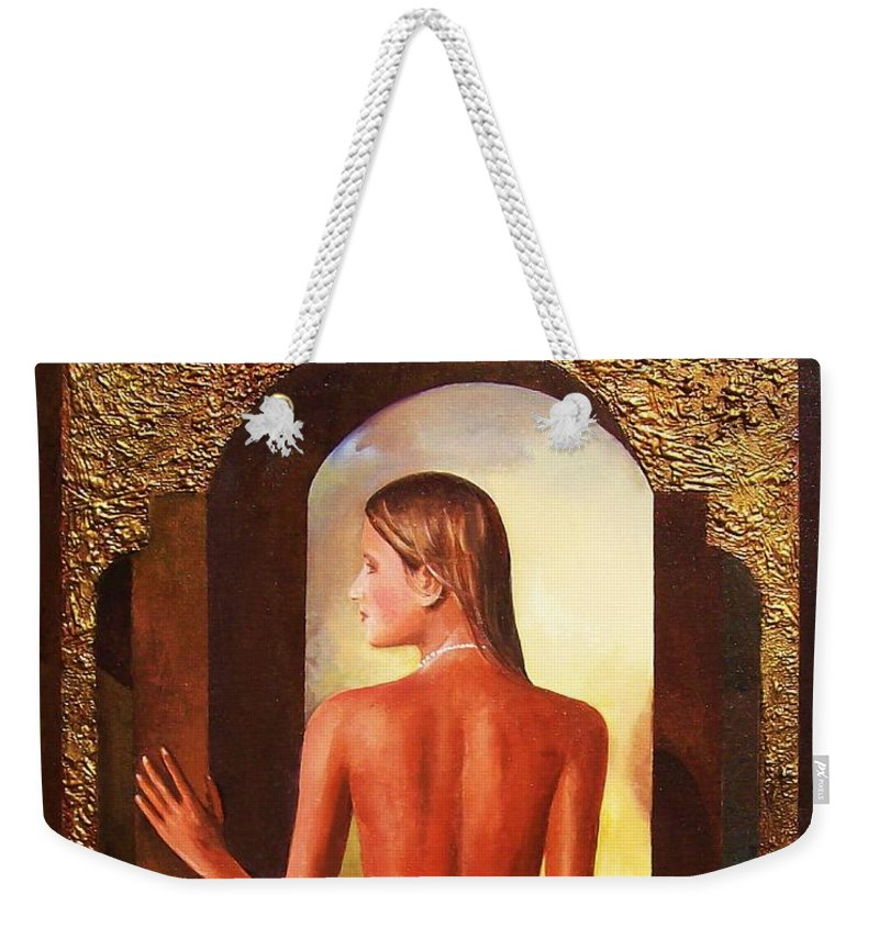Nudes Weekender Tote Bag featuring the painting Come To Me by Sinisa Saratlic