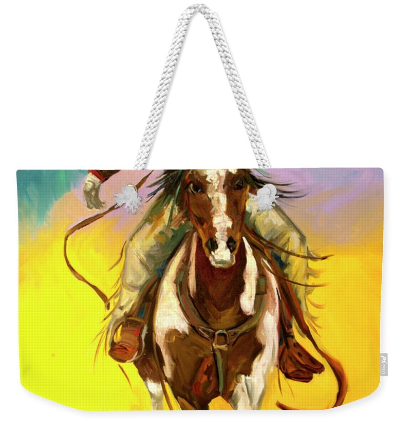 Cowboy Weekender Tote Bag featuring the painting Coming at You by Diane Whitehead