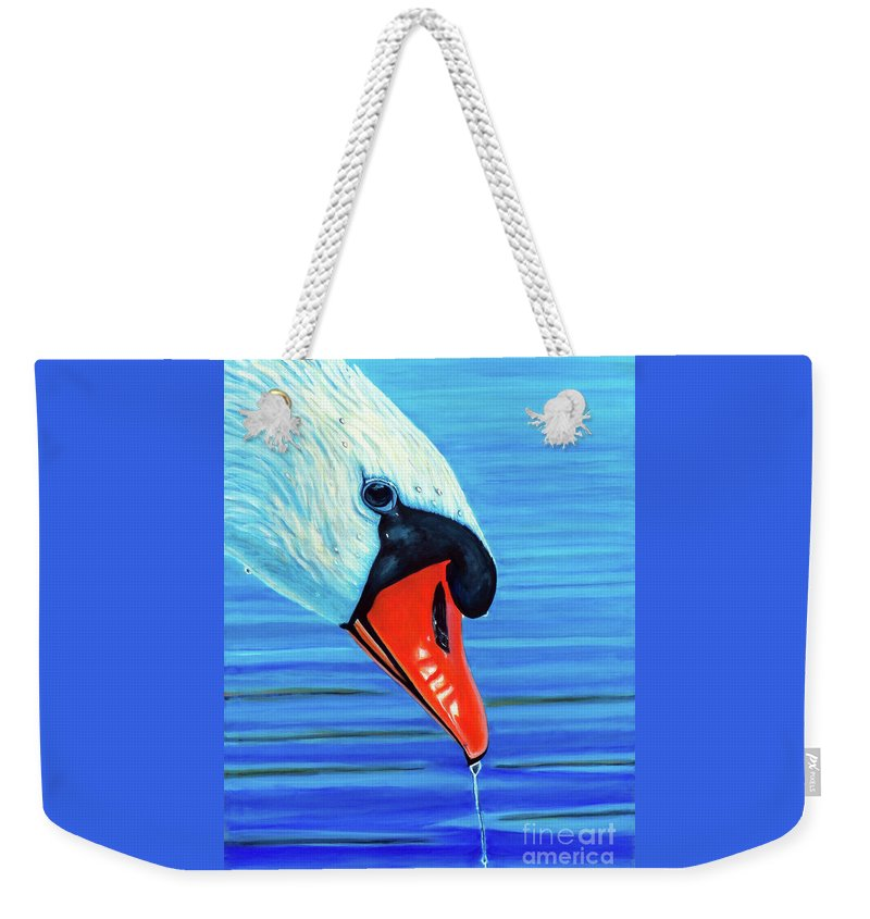 Swan Weekender Tote Bag featuring the painting Coming Up For Air by Brian Commerford