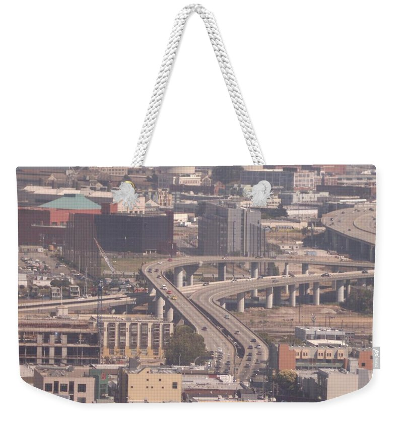 San Francisco Weekender Tote Bag featuring the photograph Commute Highway from on High by Pharris Art