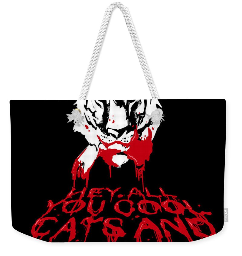Cats Weekender Tote Bag featuring the drawing Cool Cats by Ludwig Van Bacon