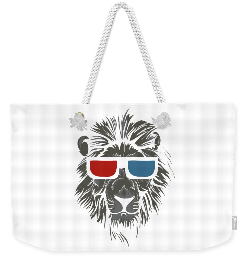 Lion Weekender Tote Bag featuring the digital art Cool Lion in 3D Glasses by Passion Loft