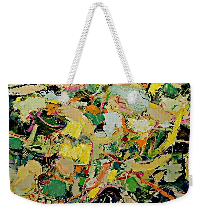 Landscape Weekender Tote Bag featuring the painting Cotton Blossom by Allan P Friedlander