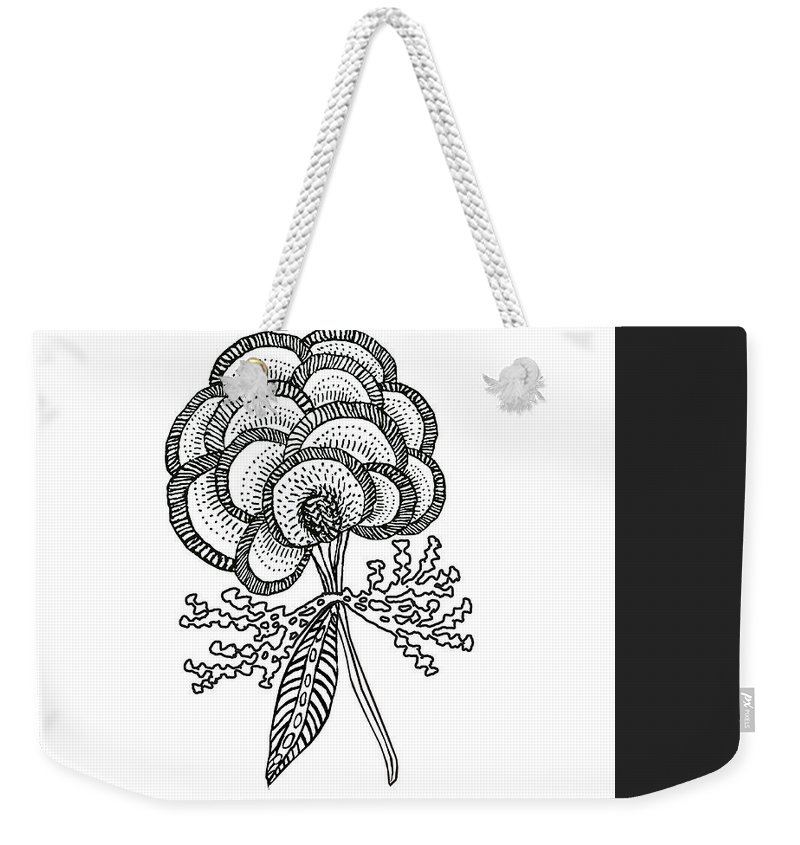 Abstract Weekender Tote Bag featuring the digital art Crewel Flower by Valerie Meotti