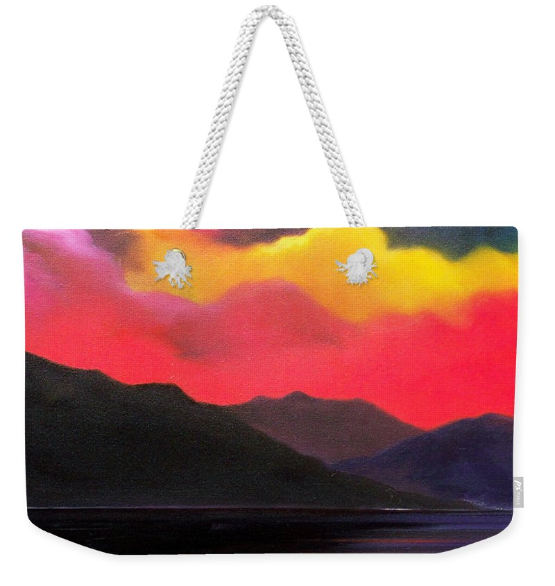 Surreal Weekender Tote Bag featuring the painting Crimson clouds by Sergey Bezhinets