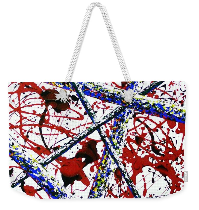 Contemporary / Abstract Weekender Tote Bag featuring the painting Criss-Cross by Micah Guenther