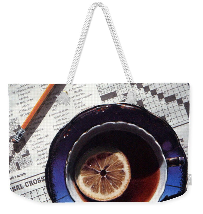 Still Life Weekender Tote Bag featuring the painting Crossword by Dianna Ponting