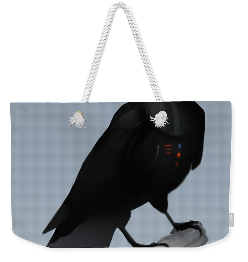 Birds Weekender Tote Bag featuring the digital art Crow Vader by Michael Myers