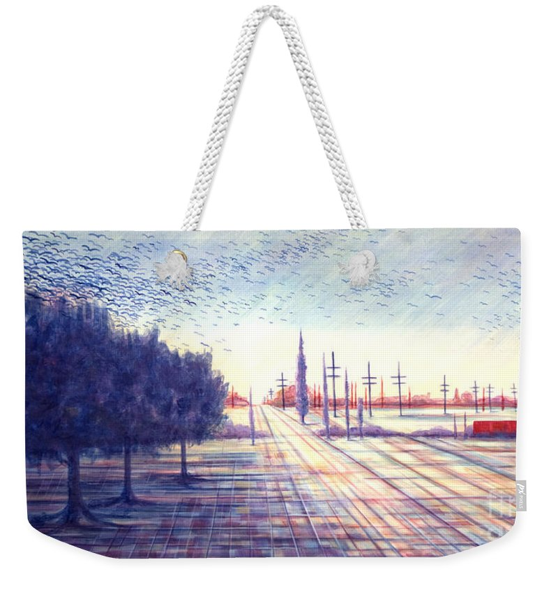 Crows Weekender Tote Bag featuring the painting Crows by Judy Henninger