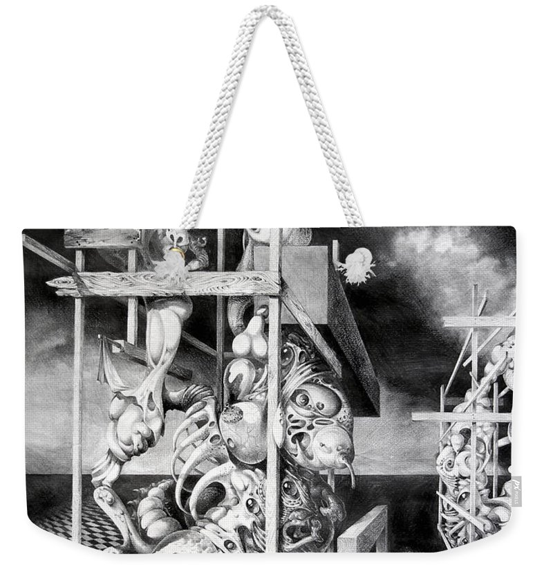 Surrealism Weekender Tote Bag featuring the drawing Cthulhu Monuments by Otto Rapp