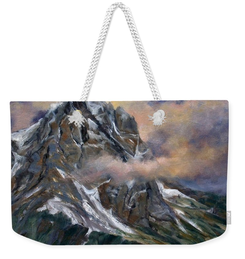 Landscape Weekender Tote Bag featuring the painting Daddy Teton by Jim Gola