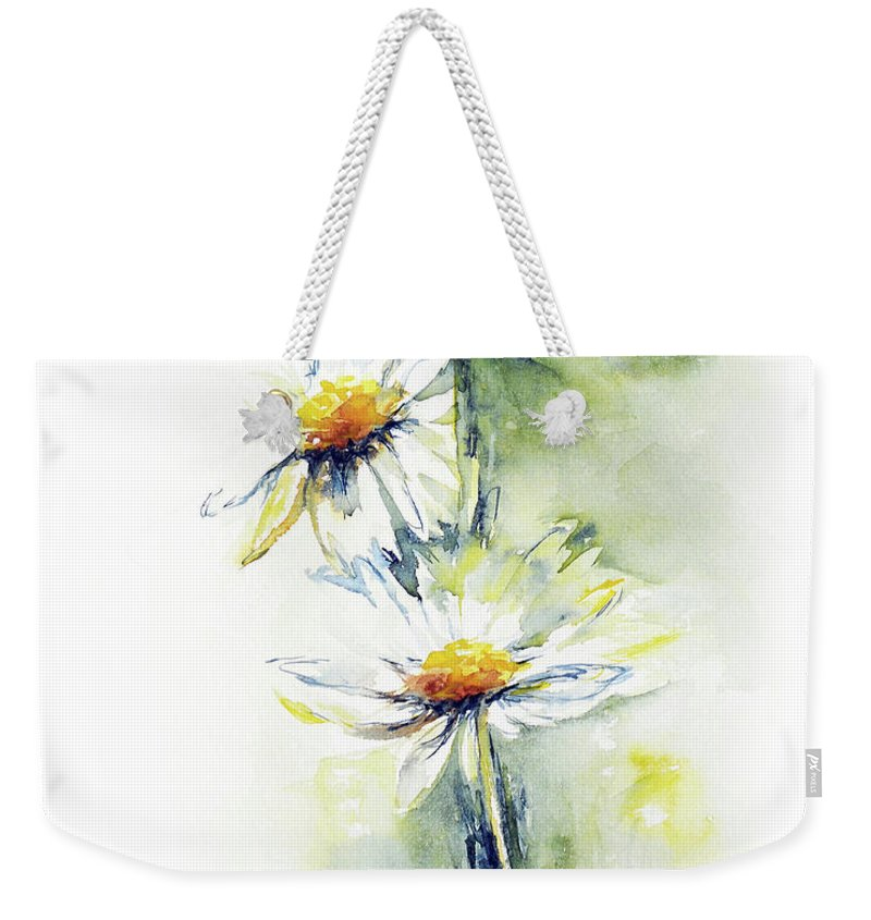 Flower Weekender Tote Bag featuring the painting Daisy Chain by Stephie Butler
