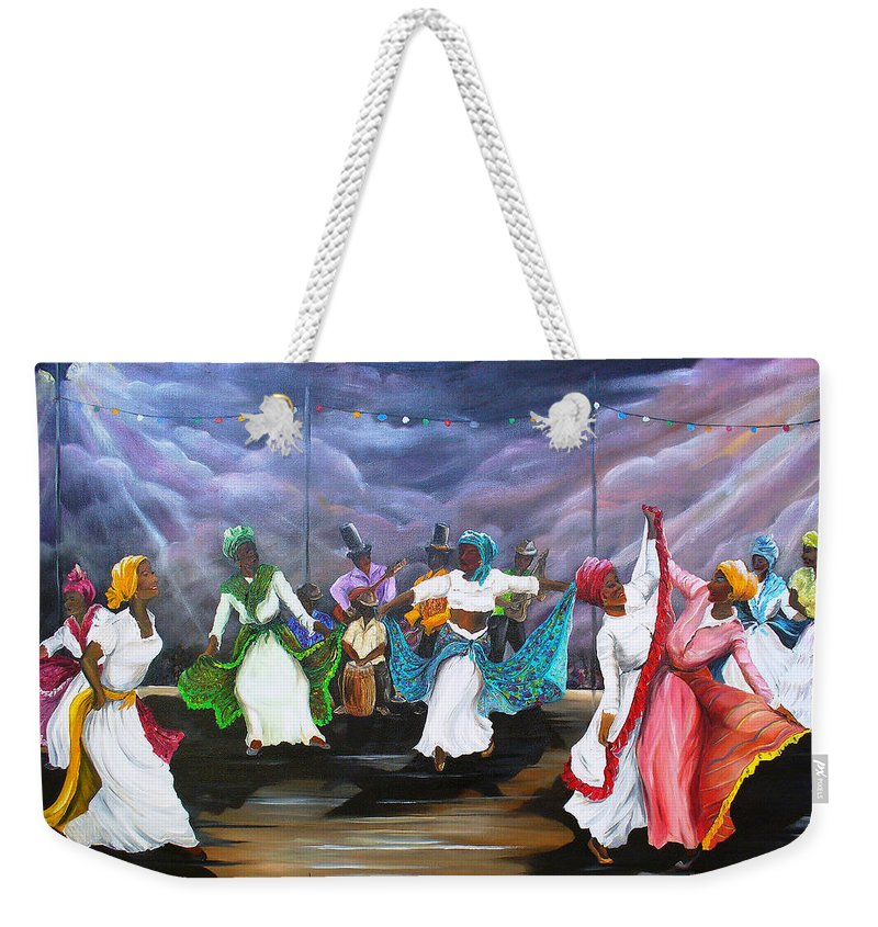 Caribbean Painting Original Painting Folklore Dance Painting Trinidad And Tobago Painting Dance Painting Tropical Painting Weekender Tote Bag featuring the painting Dance The Pique by Karin Dawn Kelshall- Best