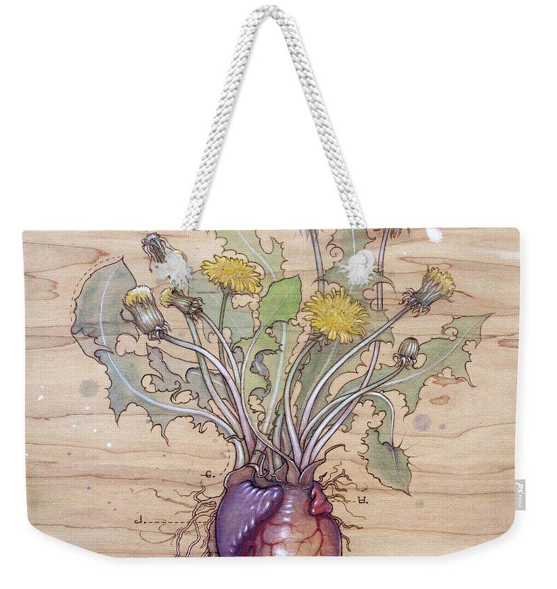 Dandelion Weekender Tote Bag featuring the pyrography Dandelion Heart by Fay Helfer