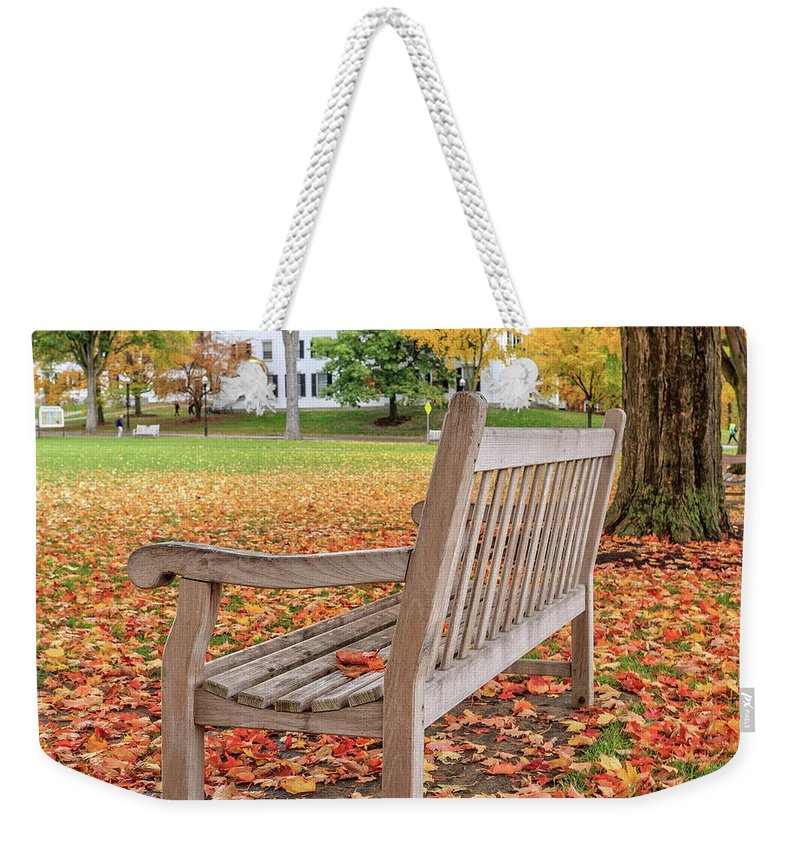 Dartmouth Weekender Tote Bag featuring the photograph Dartmouth Hanover Green In Autumn Square by Edward Fielding