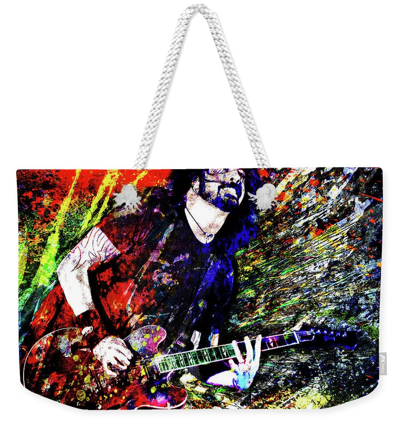 Dave Grohl Weekender Tote Bag featuring the mixed media Dave Grohl Art by Ryan Rock Artist