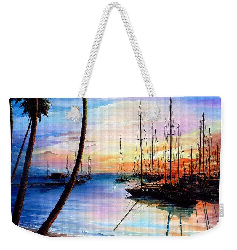 Ocean Painting Seascape Yacht Painting Sailboat Painting Sunset Painting Tropical Painting Caribbean Painting Yacht Painting At The End Of A Yachting Regatta At Pigeon Point Tobago Painting Weekender Tote Bag featuring the painting DAYS END Yachting Regatta At Pigeon Point Tobago by Karin Dawn Kelshall- Best