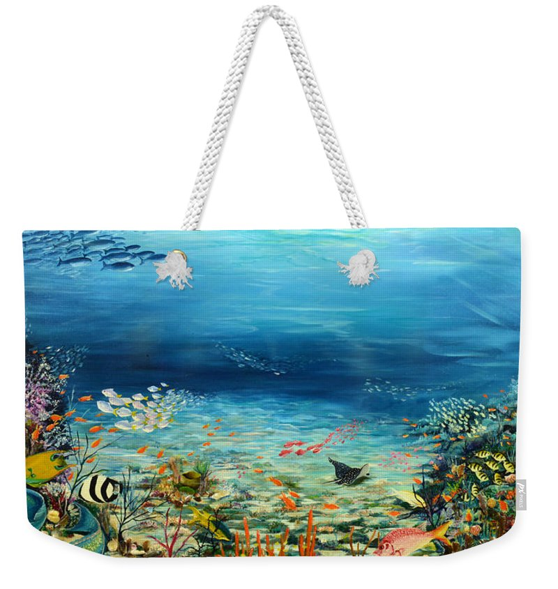 Ocean Painting Undersea Painting Coral Reef Painting Caribbean Painting Calypso Reef Painting Undersea Fishes Coral Reef Blue Sea Stingray Painting Tropical Reef Painting Tropical Painting Weekender Tote Bag featuring the painting Deep Blue Dreaming by Karin Dawn Kelshall- Best