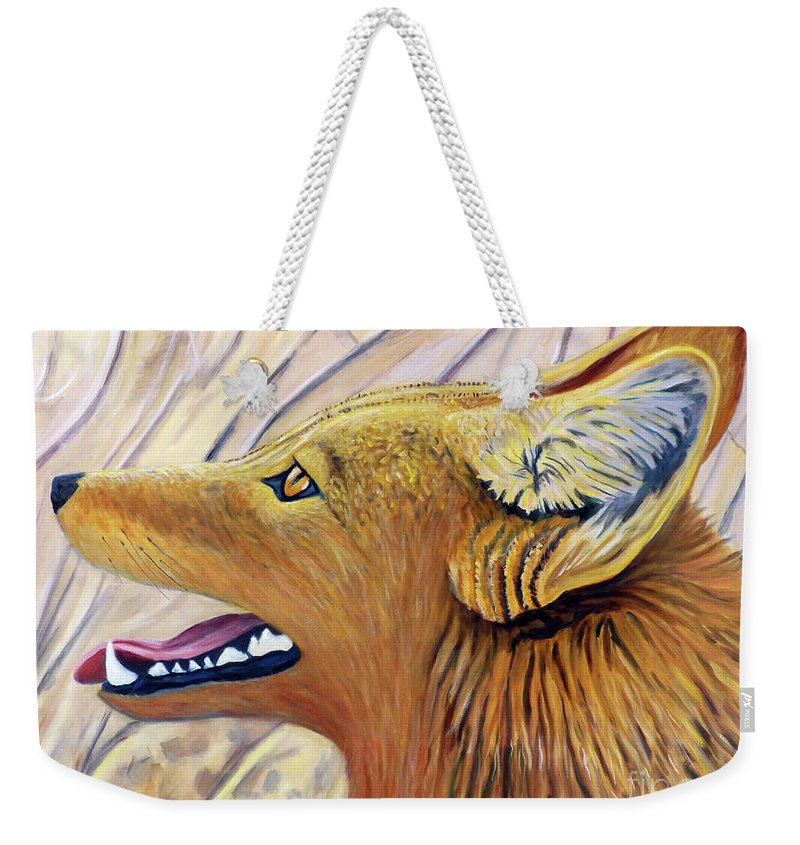 Coyote Weekender Tote Bag featuring the painting Delight by Brian Commerford