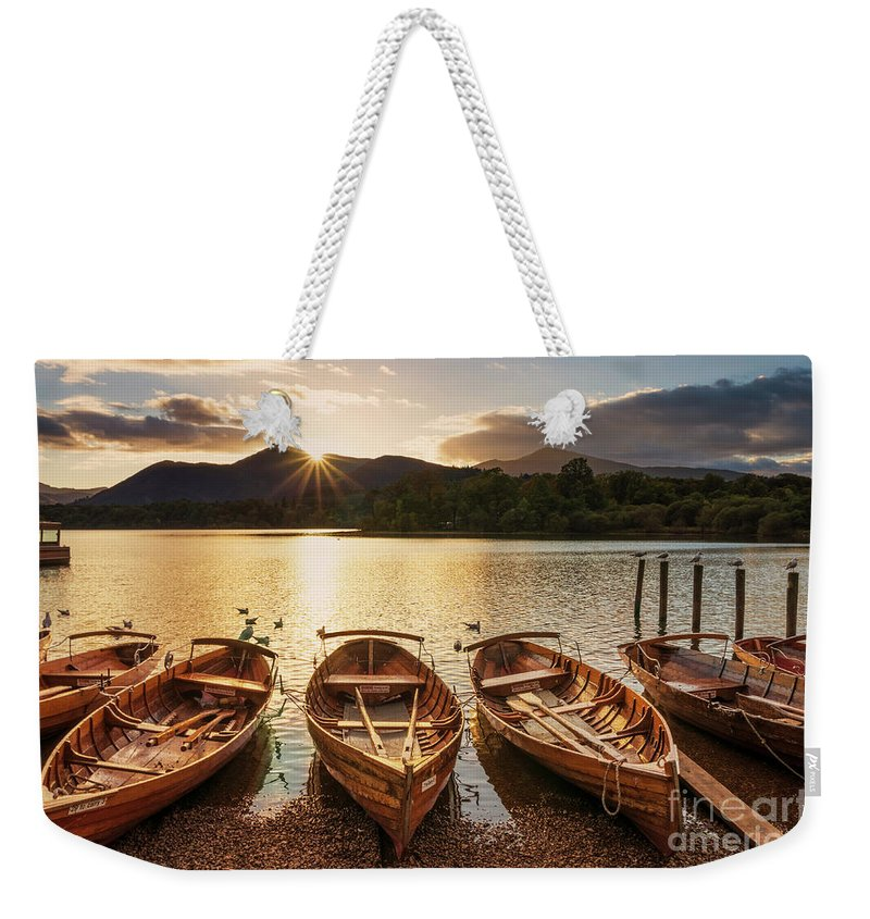 Tranquil Weekender Tote Bag featuring the photograph Derwent Water Rowing Boats, Keswick, English Lake District by Neale And Judith Clark