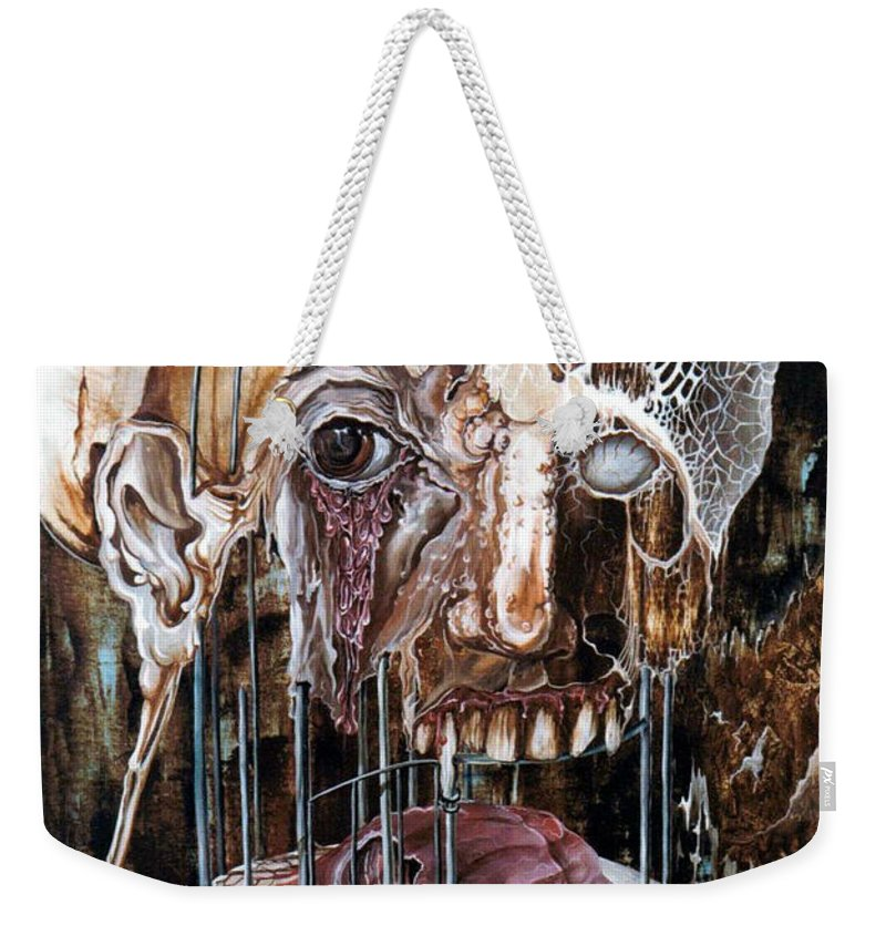 Surrealism Weekender Tote Bag featuring the painting Deterioration Of Mind Over Matter by Otto Rapp