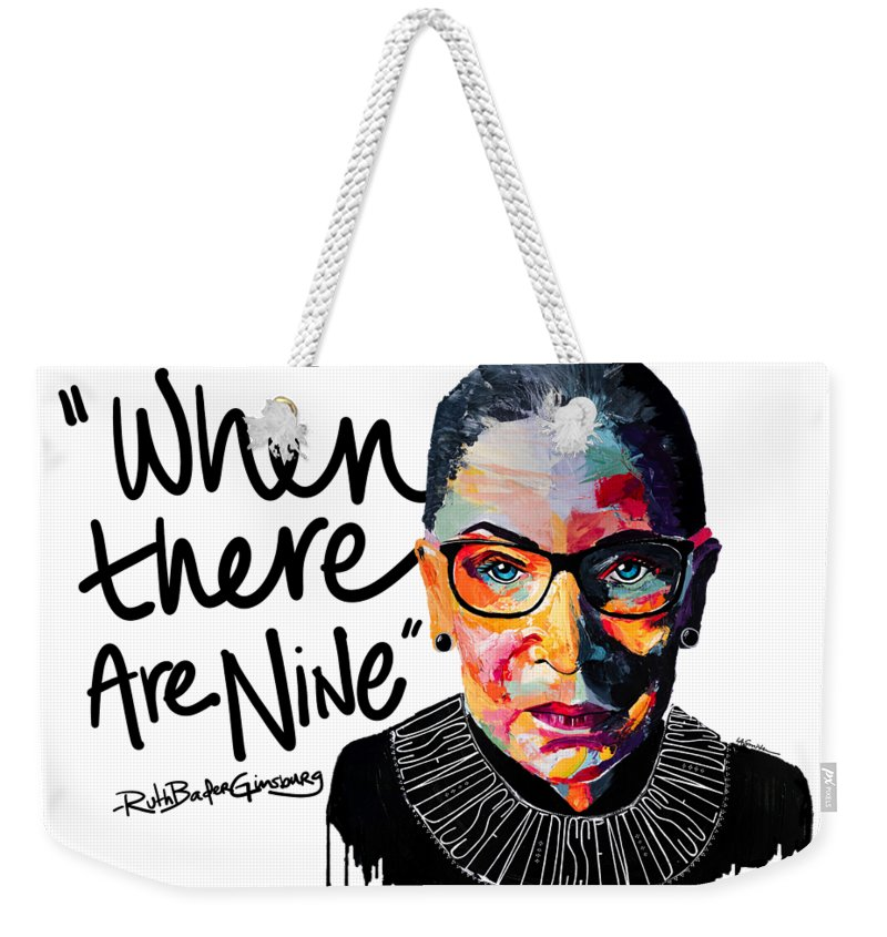 Portrait Weekender Tote Bag featuring the painting Dissent - When There Are Nine by LA Smith