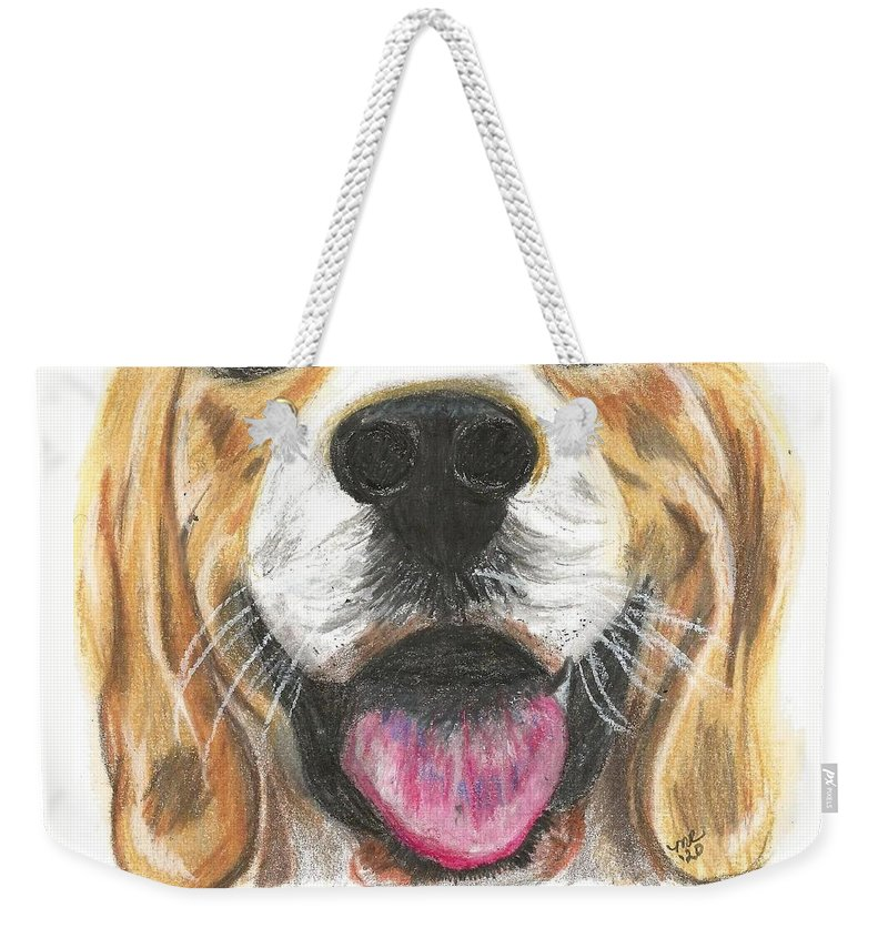 Dog Face Weekender Tote Bag featuring the painting Dog Face by Monica Resinger