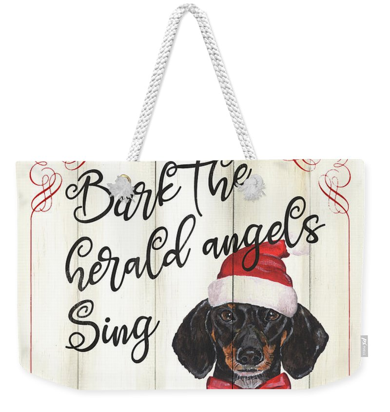 Dog Weekender Tote Bag featuring the painting Dog Holiday 1 by Debbie DeWitt
