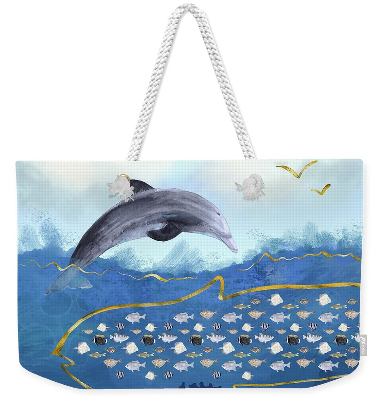 Dolphin Weekender Tote Bag featuring the digital art Dolphins Hunting Fish - Surreal Seascape by Andreea Dumez