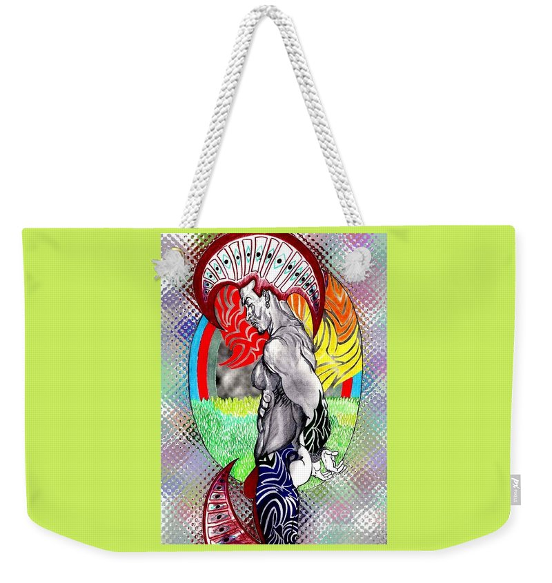 Male Weekender Tote Bag featuring the drawing Don't Take My Mind On A Trip-jan. 23, 2007 by Antonio Tonyboy Garrett