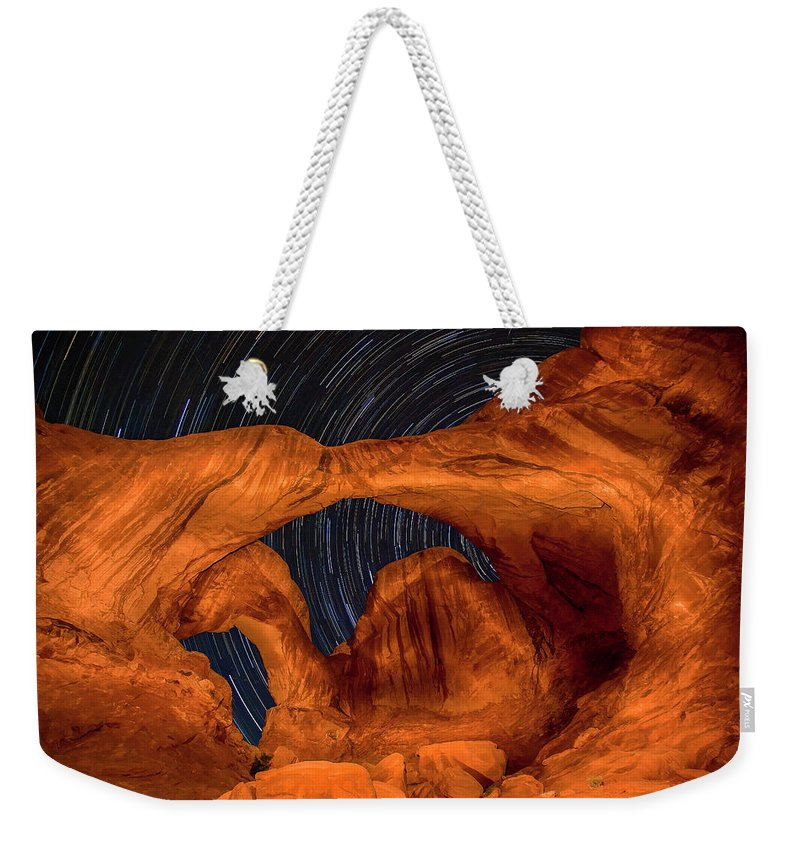 3scape Weekender Tote Bag featuring the photograph Double Arch Star Trails by Adam Romanowicz