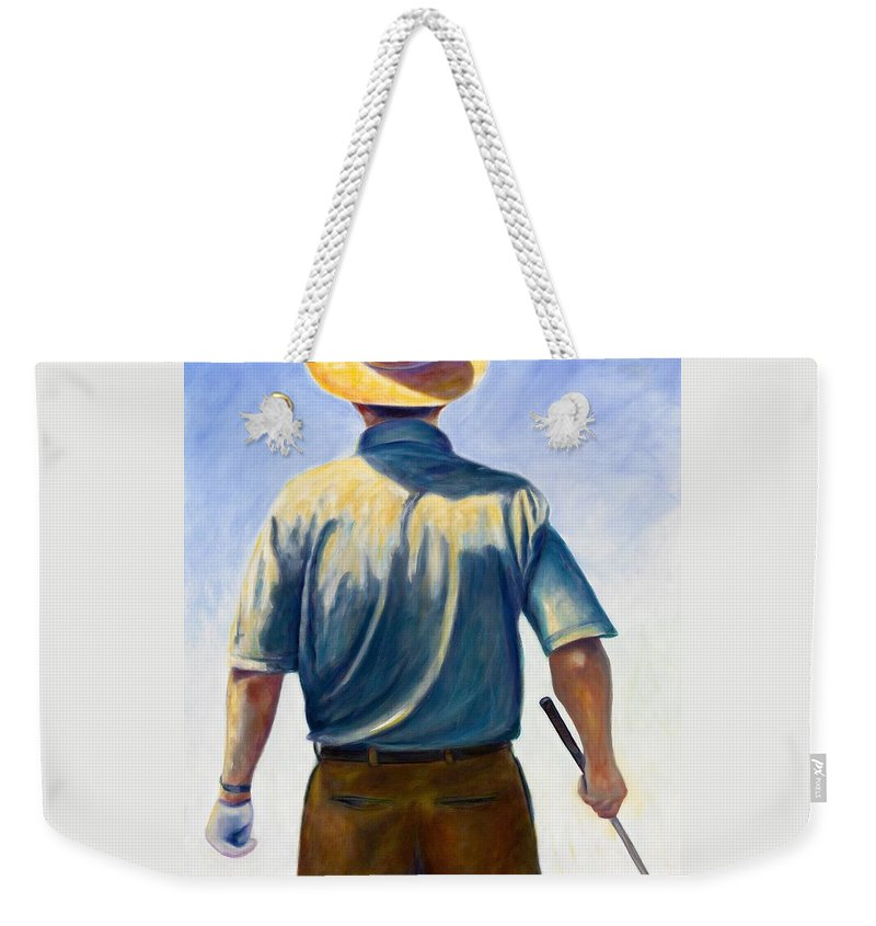 Golfer Weekender Tote Bag featuring the painting Drive by Shannon Grissom