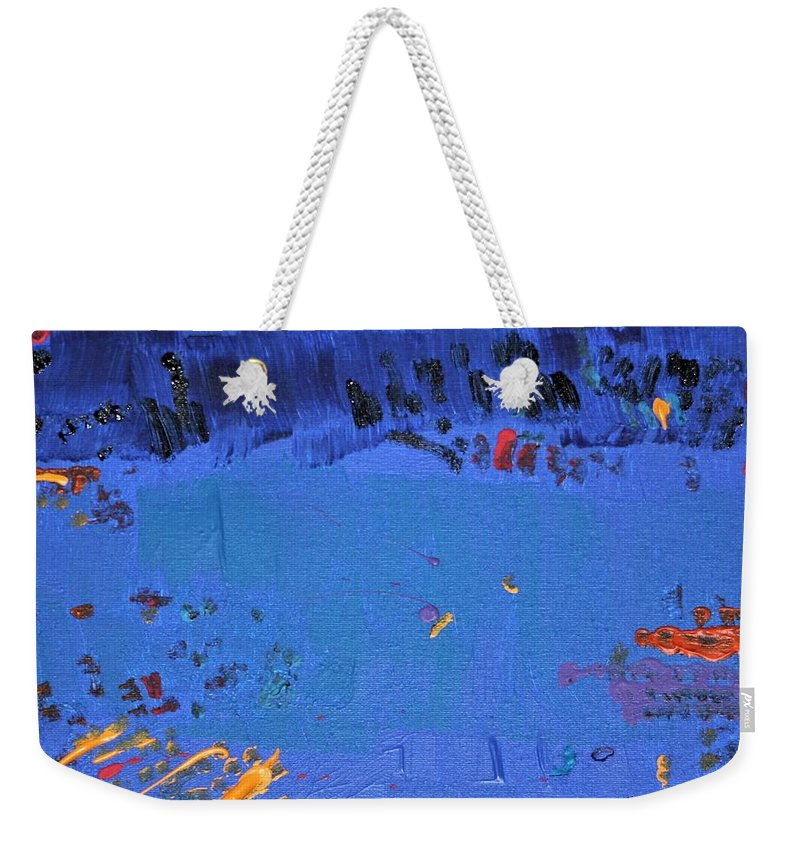Blue Weekender Tote Bag featuring the painting Dry Heat by Pam Roth O'Mara